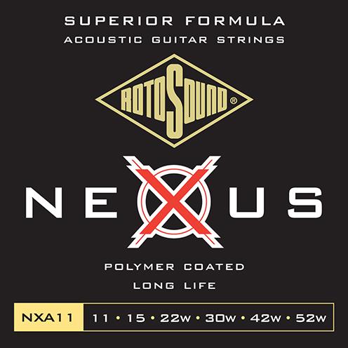 nxa11 Rotosound Nexus Acoustic coated guitar strings long life platinum polymer flattop string