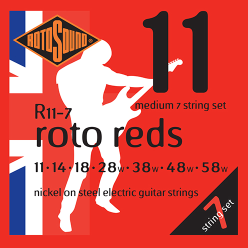 r11-7 Rotosound Roto nickel wound electric guitar strings. Best quality affordable giutar string for rock pop country metal funk blues