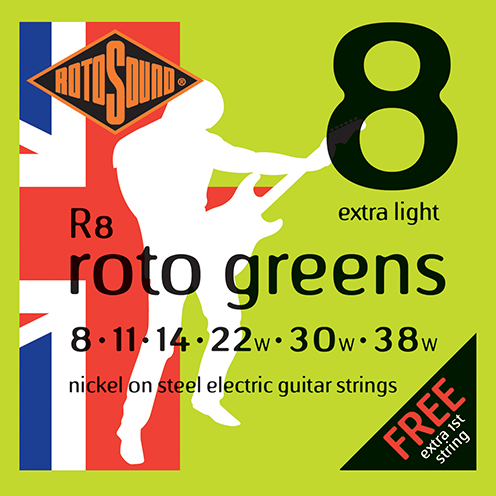 r8 Rotosound Roto nickel wound electric guitar strings. Best quality affordable giutar string for rock pop country metal funk blues