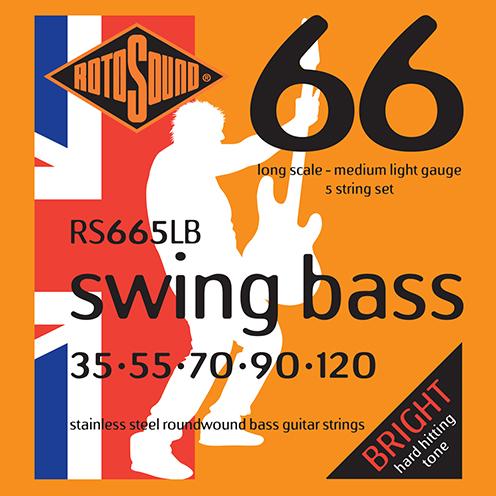 5 string Rotosound RS665 LB Swing Bass strings. Steel roundwound round wound swingbass bass wire precision jazz Rickenbacker 4003 John Entwistle bajo guitare rock metal standard gauge regular bright