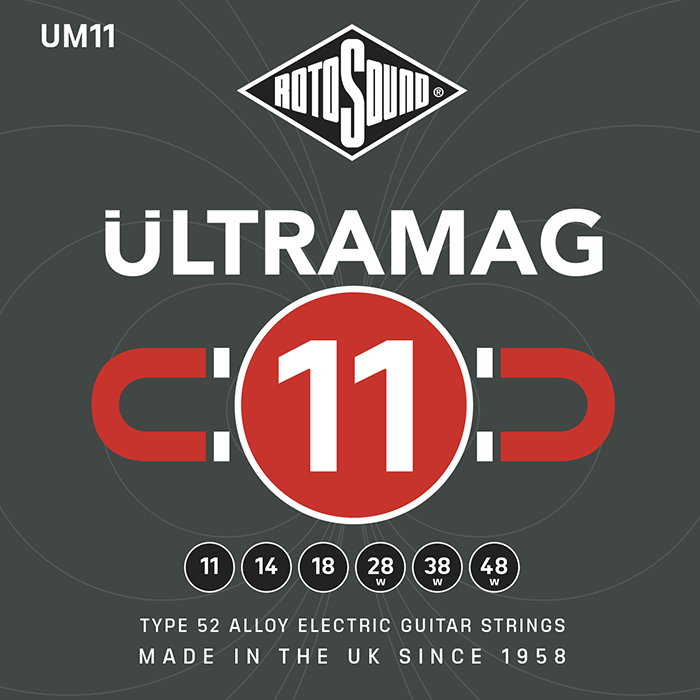 Rotosound Ultramag Ultra Mag red UM11 UM 11 Electric Guitar Strings. Nickel on steel British handmade quality best instrument string. giutar stings srings wire type 52 alloy roundwound round wound plain wrapped wrap high output set premium