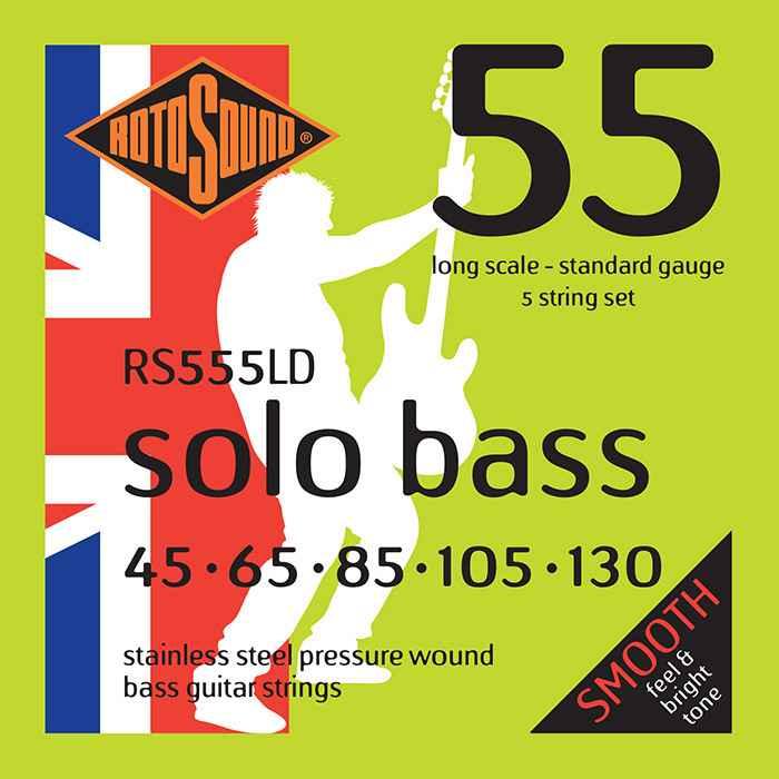 RS555LD 5-string Rotosound RS555 LD Solo Bass strings. Pressure wound pressurewound Steel roundwound round wound swingbass bass wire precision jazz Rickenbacker 4003 bajo guitare rock metal standard gauge regular bright
