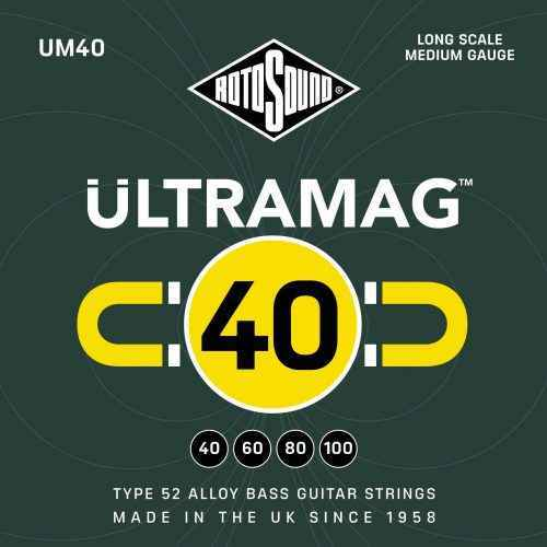 Rotosound Ultramag UM40 Foil Type 52 medium scale standard electric bass guitar strings set