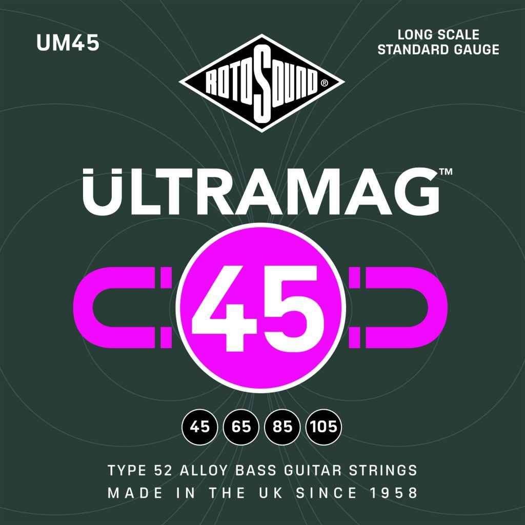 Rotosound Ultramag UM45 Foil Type 52 long scale standard electric bass guitar strings set