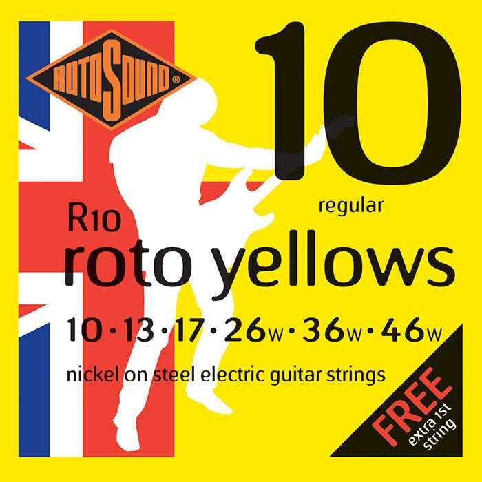R10 Rotosound Roto nickel wound electric guitar strings. Best quality affordable giutar string for rock pop country metal funk blues