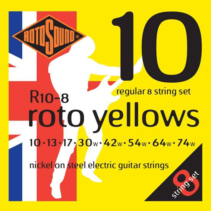 R10-8 Rotosound 8 string set Roto nickel wound electric guitar strings. Best quality affordable giutar string for rock pop country metal funk blues