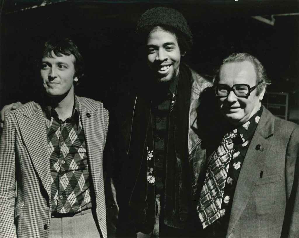 Stanley Clarke with Rotosound's Martyn and James How 1976