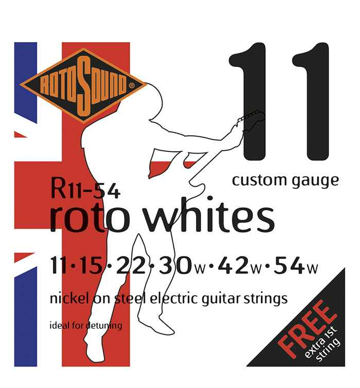 R11-54 Rotosound drop tuning heavy string set Roto nickel wound electric guitar strings. Best quality affordable giutar string for rock pop country metal funk blues