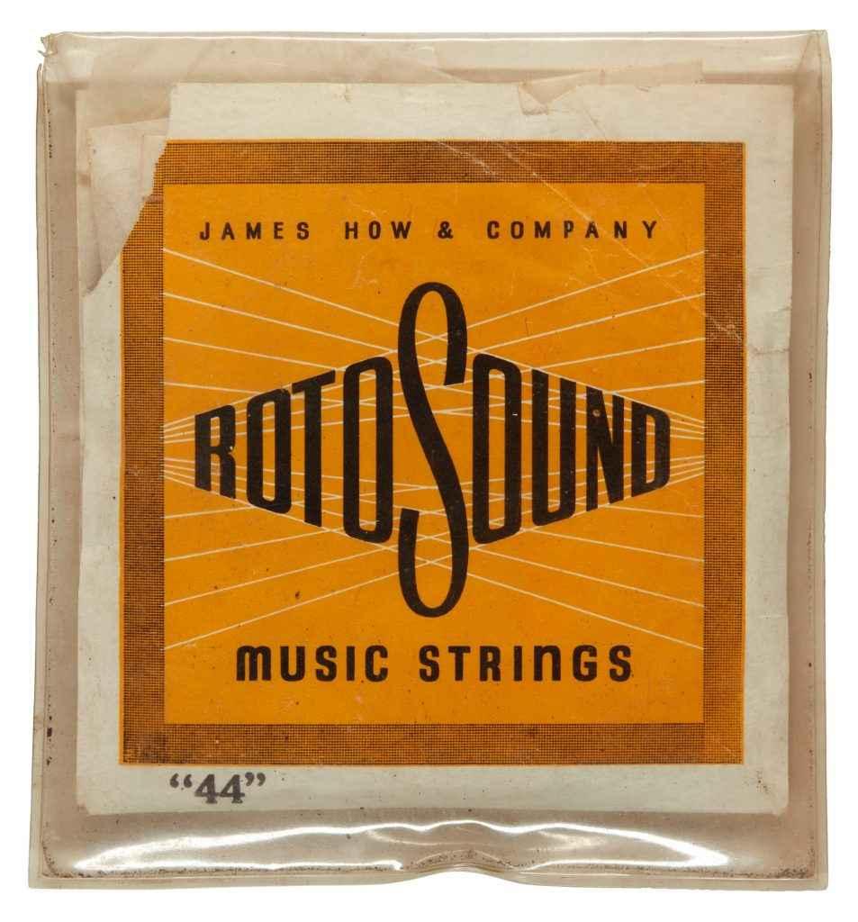 George Harrison's guitar strings Hofner President case. Rotosound RS44 gauge 11 stainless steel strings