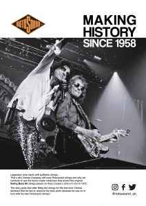 Rotosound Making History Advert Design Dennis Dunaway Alice Cooper Swing Bass 66 bass guitar strings iconic legendary bassist advertising campaign