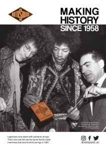 Rotosound Making History Advert Design Jimi Hendrix Noel Redding British Steel Swing Bass 66 bass guitar strings iconic legendary guitarist bassist advertising campaign
