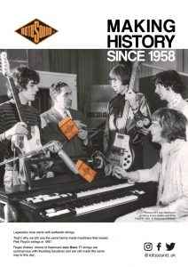 Rotosound Making History Advert Design Pink Floyd Syd Barrett Roger Waters British Steel Swing Bass 66 bass guitar strings iconic legendary guitarist bassist advertising campaign