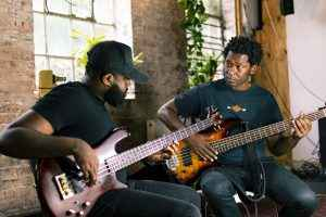 Steve Walters and Evander Swaby bassists in London bass guitar lesson. Photo credit Rotosound