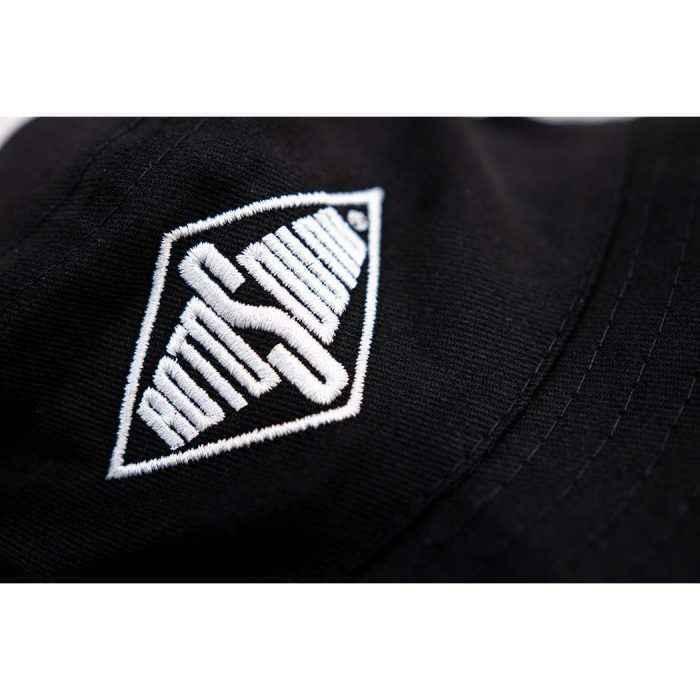 Black Bucket Hat with Rotosound Strings logo summer merchandise sunhat detail