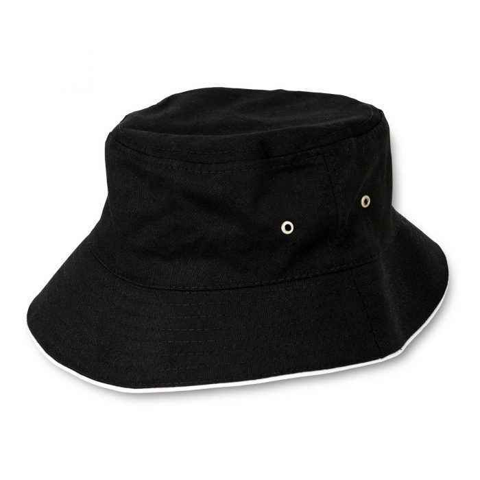 Black Bucket Hat with Rotosound Strings logo summer merchandise sunhat reverse