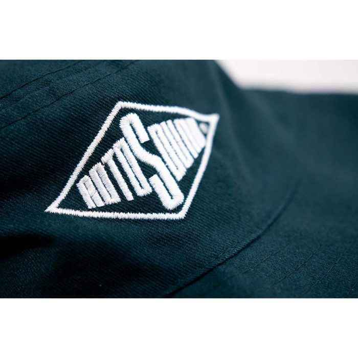 Bottle Green Bucket Hat with Rotosound Strings logo summer merchandise sunhat detail