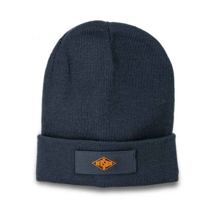Grey Beanie Hat with Rotosound Strings logo. Gray winter merchandise beany