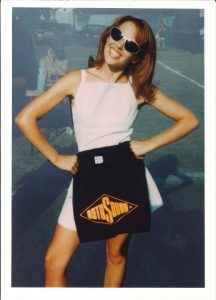 Kylie Minogue with Rotosound t-shirt 1997