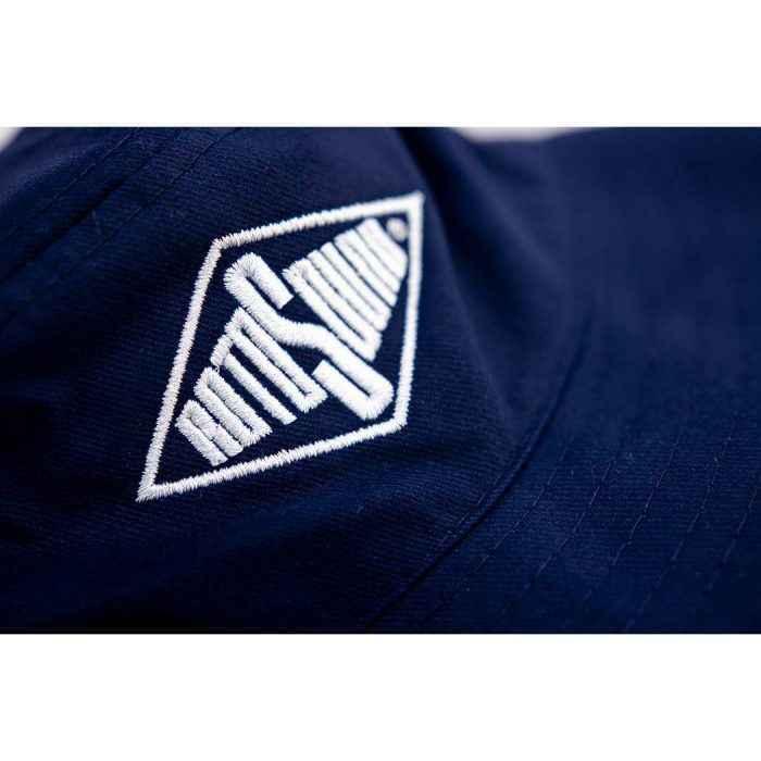 Navy Blue Bucket Hat with Rotosound Strings logo summer merchandise sunhat detail