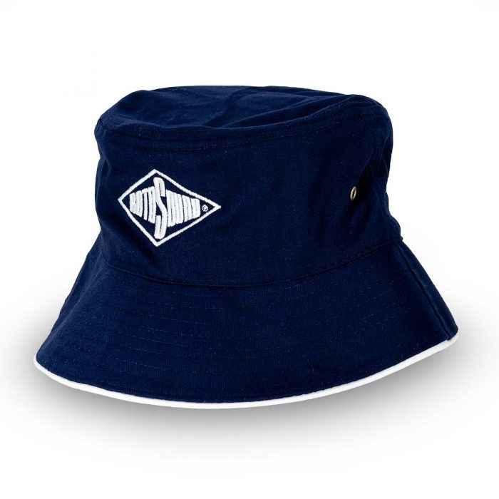 Navy Blue Bucket Hat with Rotosound Strings logo summer merchandise sunhat