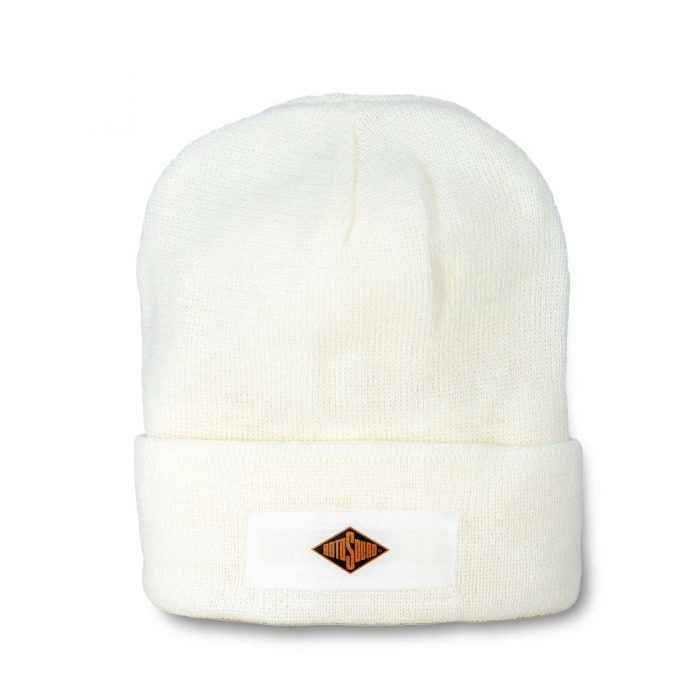 White Beanie Hat with Rotosound Strings logo winter merchandise beany
