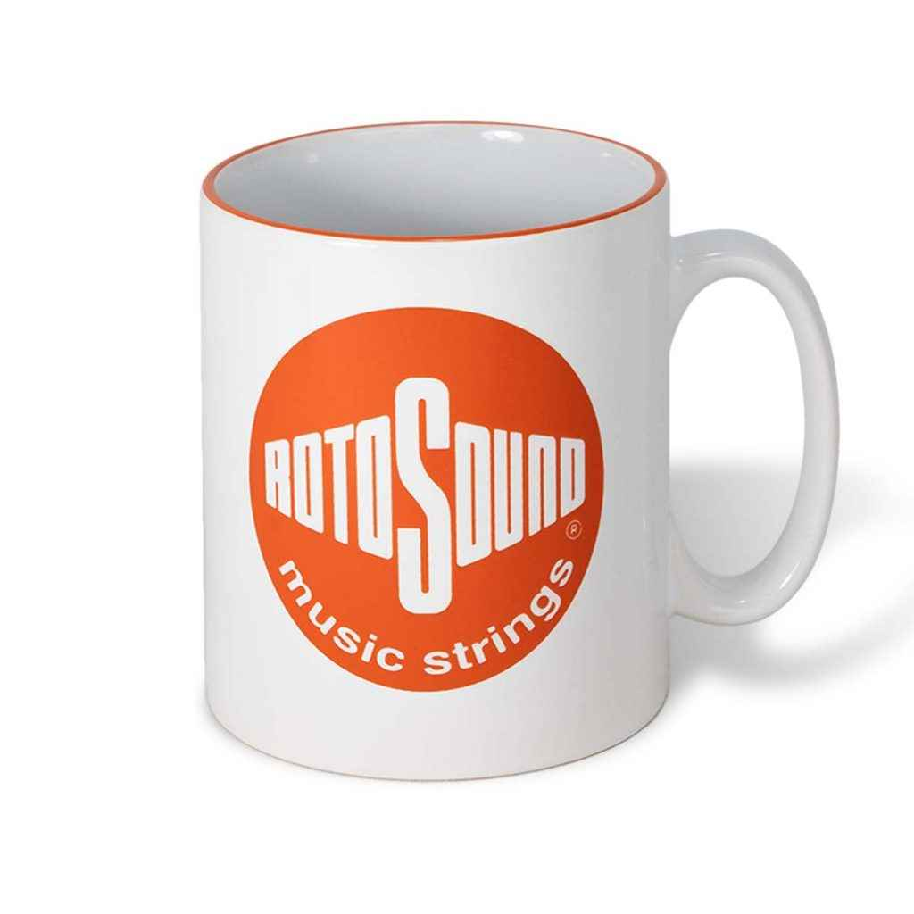Orange vintage Rotosound logo on white mug top detail